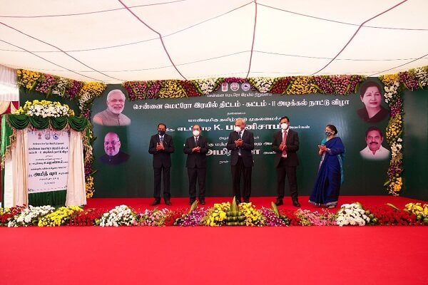 Amit Shah laid foundation stone of Rs 61,843 crore metro rail project in Chennai