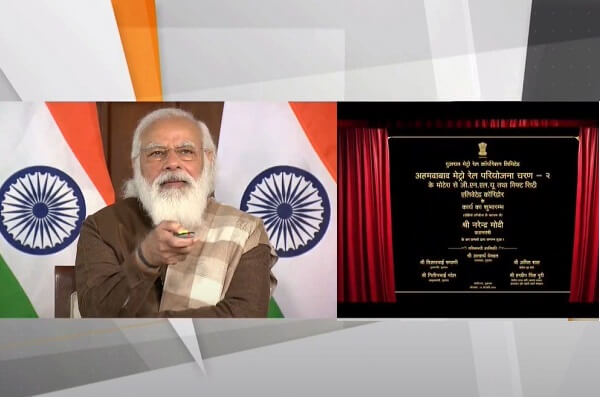 PM Modi lays foundation stone of Ahmedabad Metro Phase 2 and Surat Metro projects